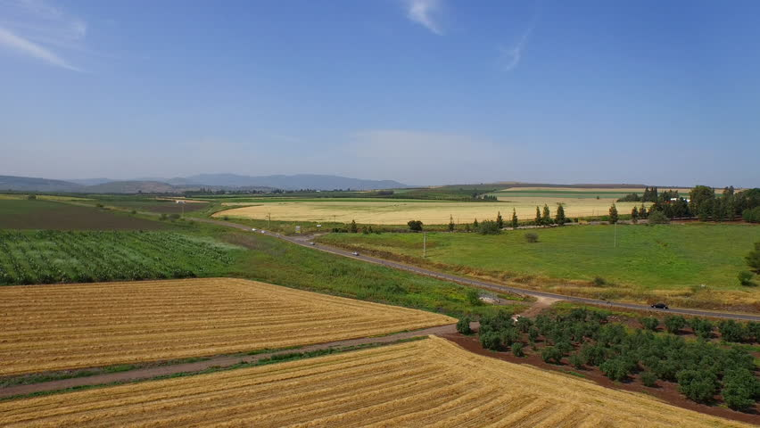 AGRICULTURAL LAND, ISRAEL-CIRCA MARCH, 2015: Aerial of farmland in the northern area of Galilee in the nation of Israel.  | Shutterstock HD Video #10671791