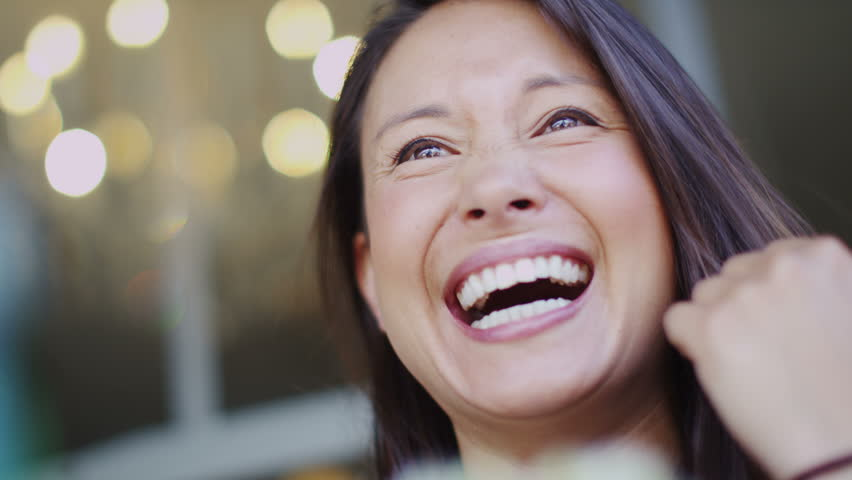 4K Camera moves around an attractive woman talking at a cafe table, shot on RED EPIC | Shutterstock HD Video #10726061