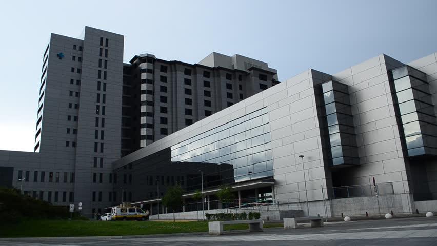 LEON, SPAIN - JULY 2015. Health Care Hospital Exterior, Leon, Spain circa July 2015 - HD stock footage clip