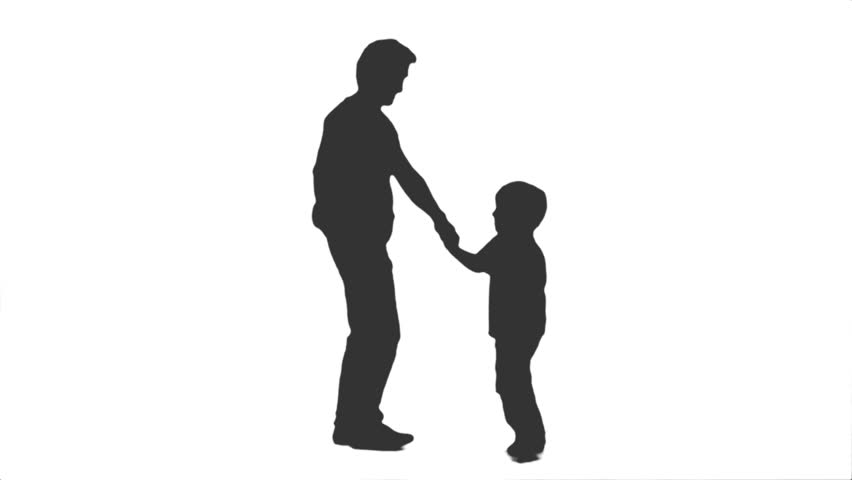 silhouette of a man walking with a little boy side view