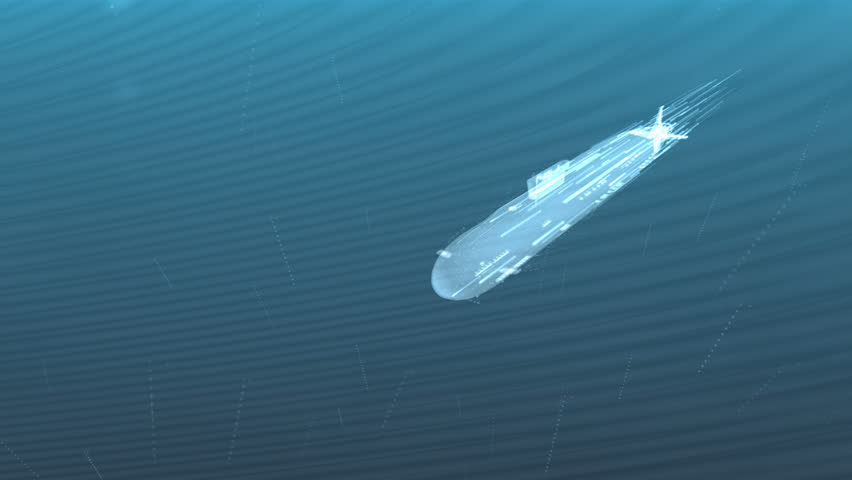 Abstract decorative 3d animation of a glowing submarine under water - 4K stock footage clip