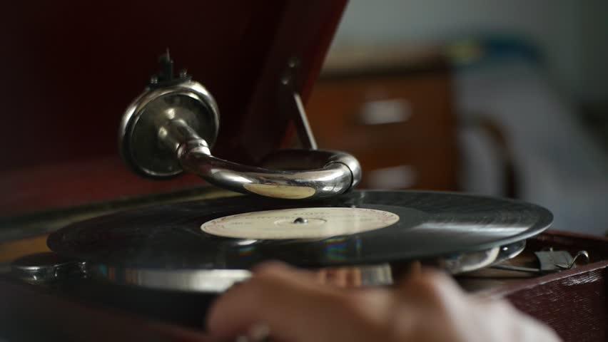 Vintage Gramophone - playing vinyl records - nostalgic memories
