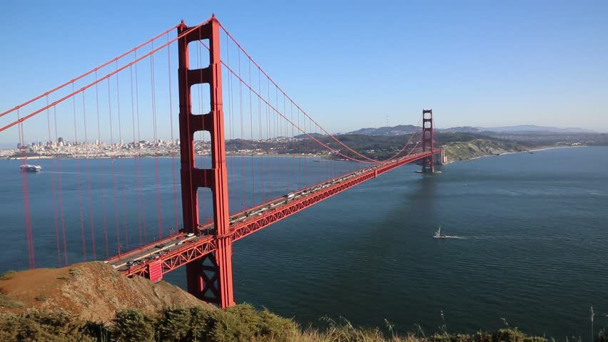 Sailing boat under Golden Gate Bridge - San Francisco, California - HD stock footage clip