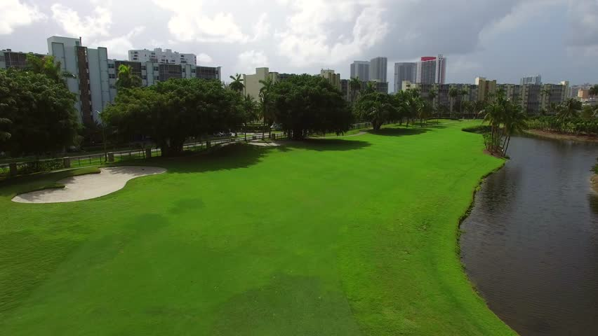 Aerial video of a golf coursee low flyover 4k | Shutterstock HD Video #10788944