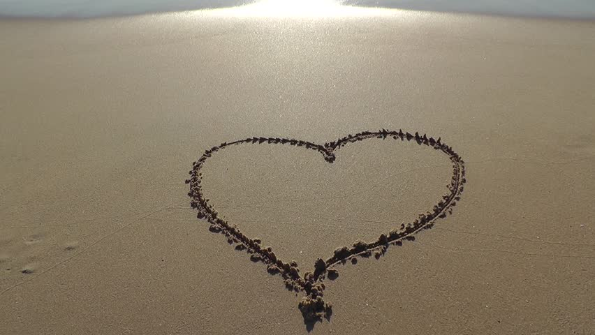 Heart Drawn On The Beach Sand With Sea Foam And Wave Stock ...