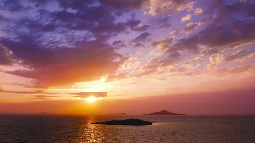 Dramatic sunset over sea, Mar Menor lagoon, seascape, landscape.Time-lapse. #10813802