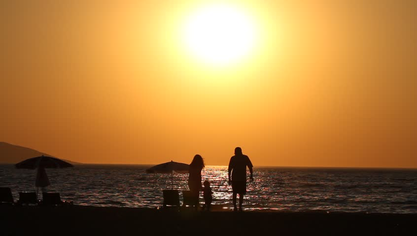 Family at The Sunset - HD stock footage clip