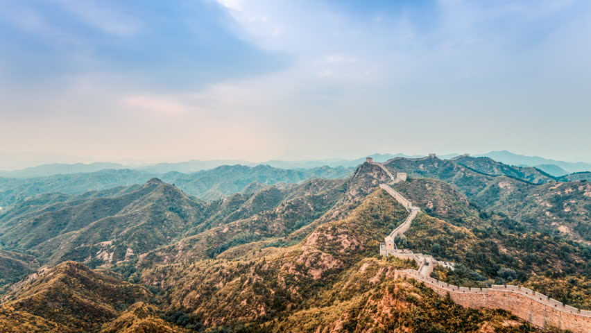 Timelapse of the Great Wall, Jinshanling, China. Cloudy day. In 4K. | Shutterstock HD Video #10846652