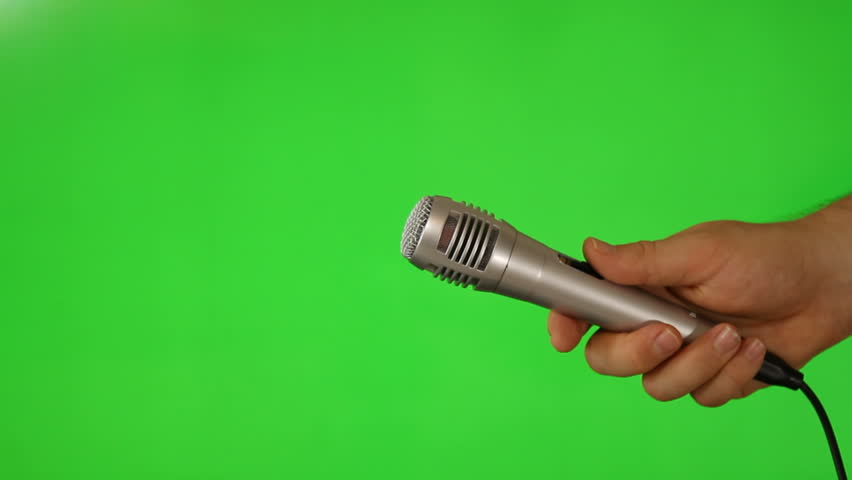 Microphone On Green Screen Hd Stock Footage Clip