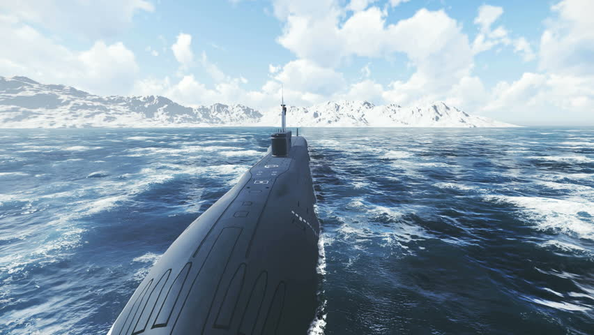 Front view of the russian ballistic missile submarine Borei at sea. Realistic three dimensional animation. - 4K stock footage clip