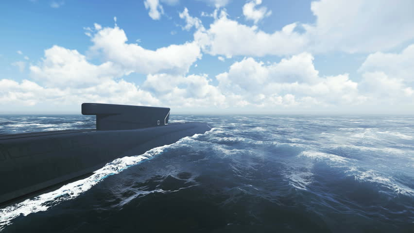 Russian ballistic missile submarine Borei from surfaced to submerged position. Realistic three dimensional animation. - 4K stock footage clip