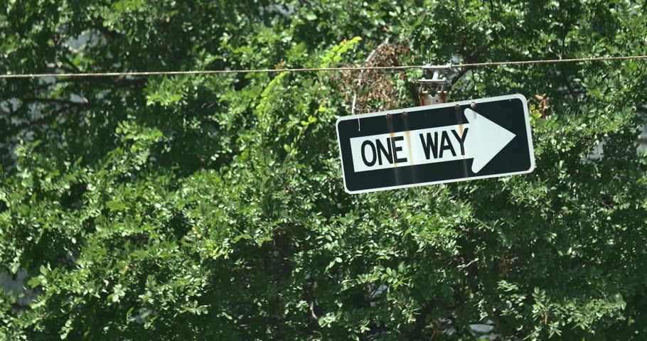 4k One Way Traffic Street Sign
