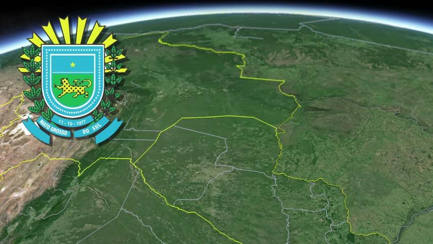 Mato Grosso do Sul white Coat of arms animation map States of Brazil Mato Grosso do Sul white Coat of arms animation map