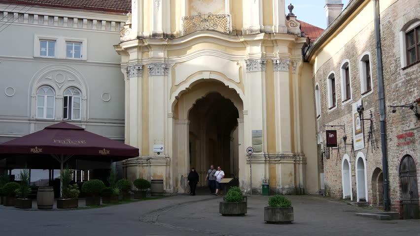 Tilt from the Holy Trinity Church & Basilian Gate in Vilnius Lithuania - 4K stock footage clip
