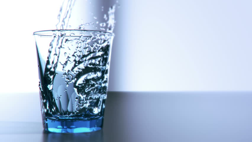 Pouring glass of water in slow motion high quality computer simulation and render for fullHD