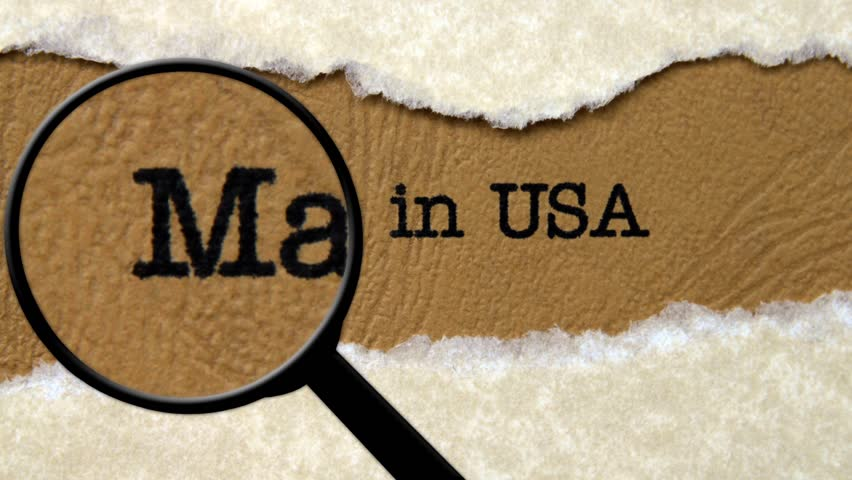 Magnifying glass on made in USA