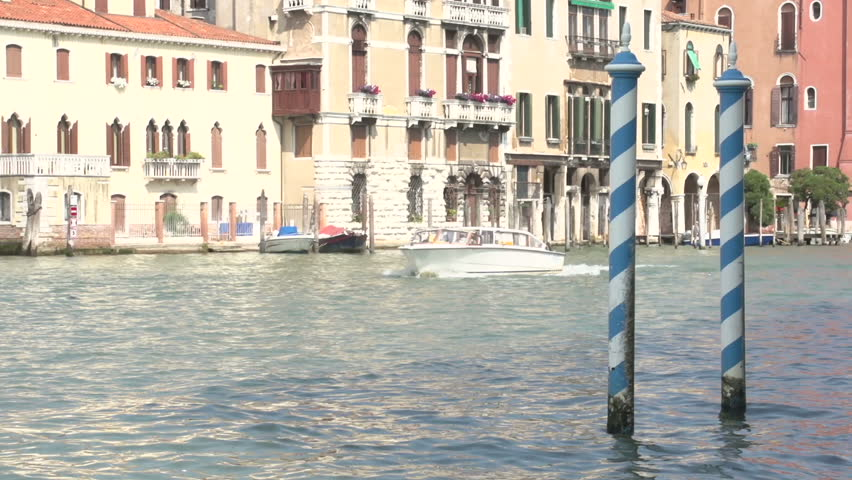 Blue poles at the Canal in Venice   Shutterstock HD Video #10969709
