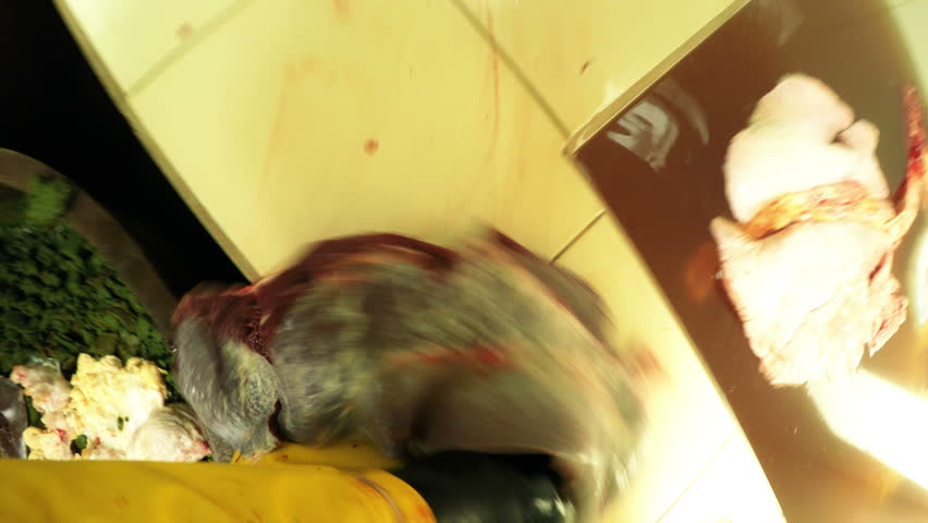 Hand with knife inside of a slaughterhouse, first person point of view from butcher helmet mounted camera