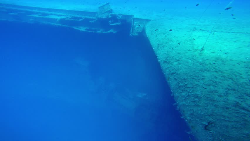 28.07.2015 Zenobia boat wreck- Cyprus Larnaca, editorial, Zenobia was a roll-on, roll-off (Ro-Ro) ferry carrying trucks. More than 100 of these were still shackled in place when she went down. - 4K stock video clip