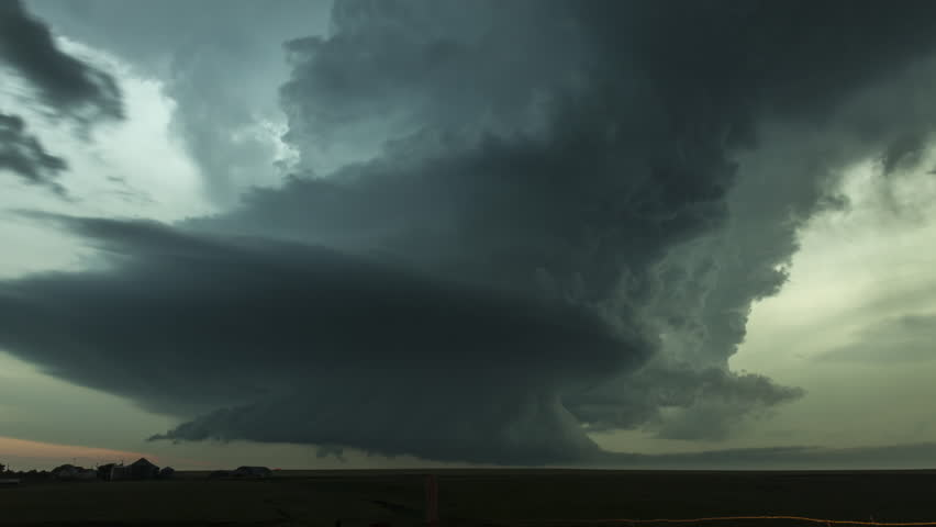 Time-lapse video of an intense rotating supercell thunderstorm, with impressive lightning strikes and mesocyclone storm structure.