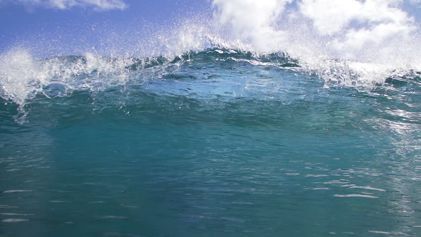 Tropical Blue Ocean Wave Crashing in Slow Motion