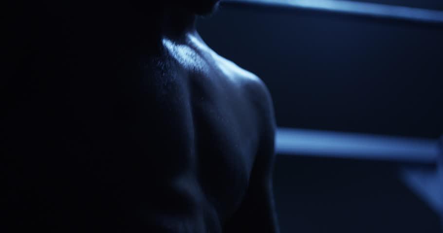 Man Flexing Abdomen - 4K stock footage clip