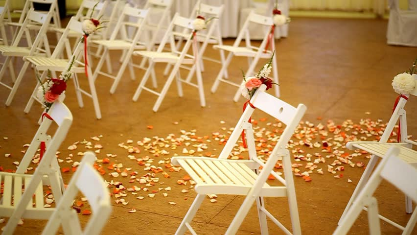 White Chairs At A Wedding Indoor Stock Photo: Rows Of White Wooden Chairs At Wedding Ceremony Stock
