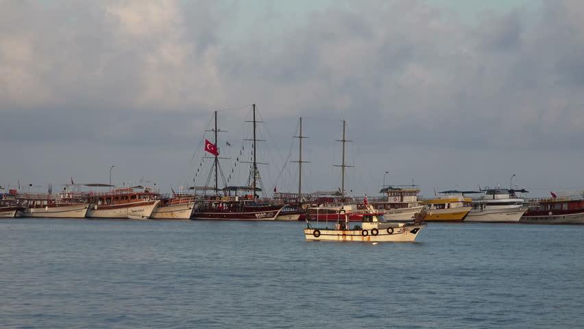 Kusadasi turkey cruise ship entering the port stock footage video 3520022 shutterstock - Ephesus turkey cruise port ...