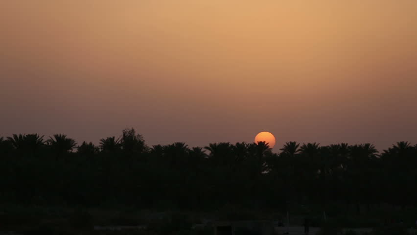 Sunset behind palm trees on the banks of Euphrates River, Jurf Al Nasr, Iraq. in 2014, Jurf Al-Nasr witnessed  fierce battles between ISIS and Iraqi army supported by popular mobilization forces