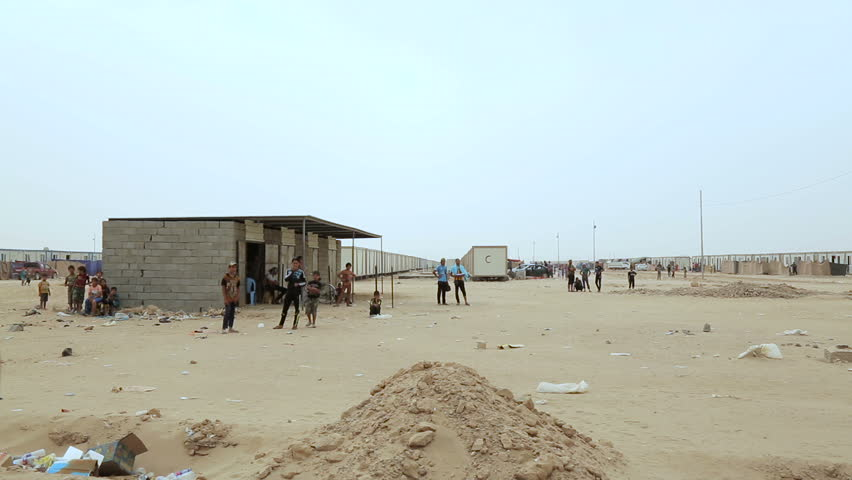 ANBAR, IRAQ - 28 MAY 2015: A refugee camp for people displaced from clashes in Ramadi