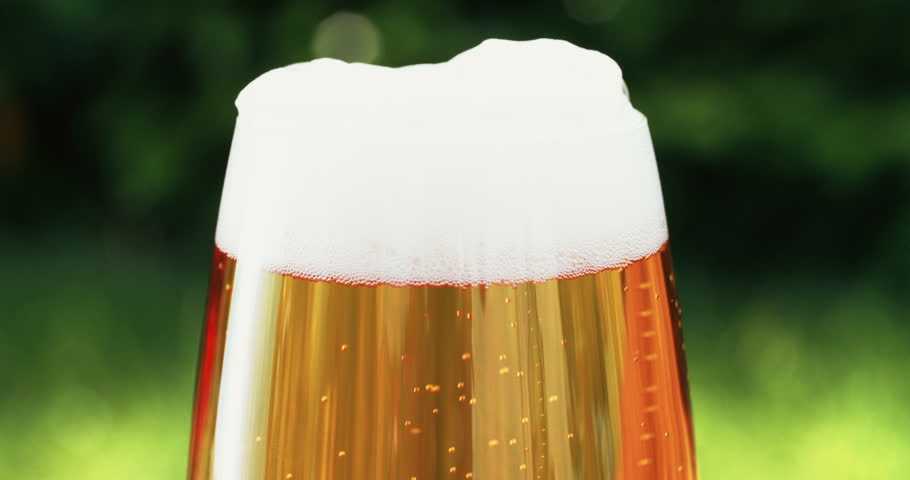 Cold beer in pint glass looking refreshing outdoors with greenery in the background - 4K stock footage clip
