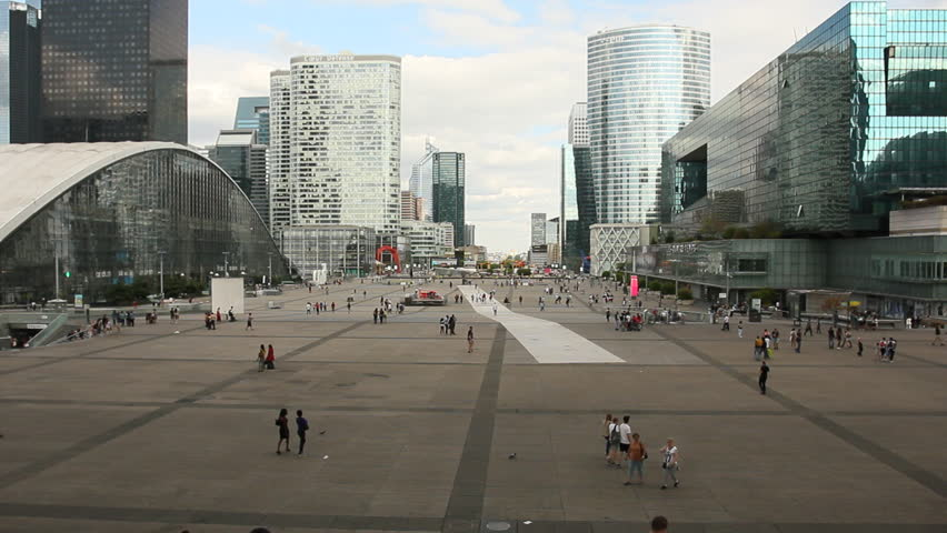 PARIS - July 20, 2015: people walk at La Defense on July 20, 2015 in Paris  | Shutterstock HD Video #11099930