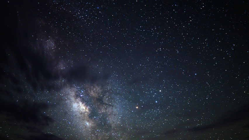 Astrophotography time lapse footage of Milky Way galaxy over desert sand dunes in Death Valley National Park, California -Sky Only-