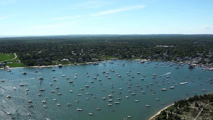 Edgartown, Ma 4k aerial view, Martha's Vineyard, Ma. - 4K stock video clip