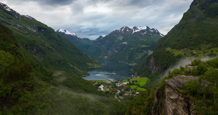 4K Norway Mountains And Fjord View - Clouds Time Lapse Geirangerfjord,  Stranda, Norway