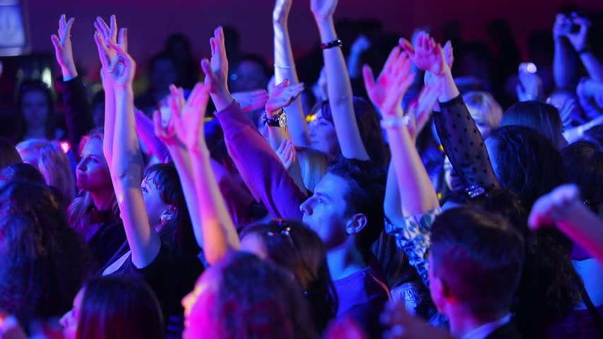 Kiev, Ukraine - 21/04/2014: Youth disco. Young people dancing with their hands up. Night club. | Shutterstock HD Video #11183837