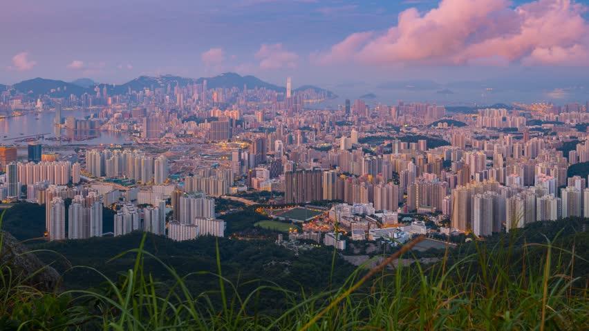 4K Timelapse Movie Sunrise Over Hong Kong Skyline | Shutterstock HD Video #11186060