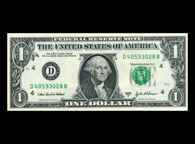 a dollar bill is shattered - SD stock footage clip