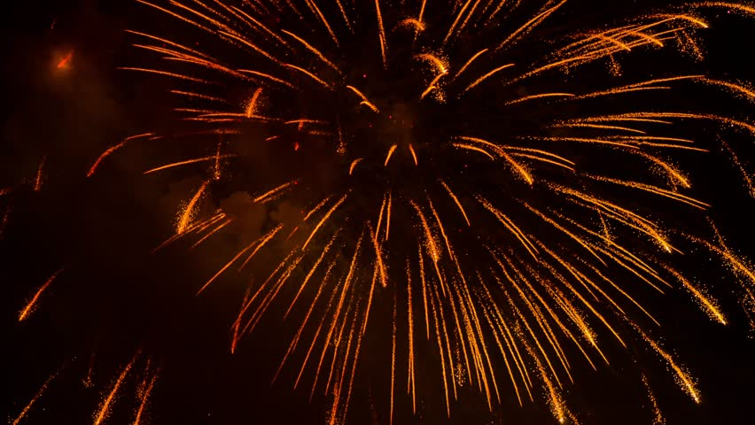 SLOW MO: Very beautiful fantastic night golden rain pyrotechnic fireworks sparkling on black sky background. Amazing show at night during celebration.   Shutterstock HD Video #11277293