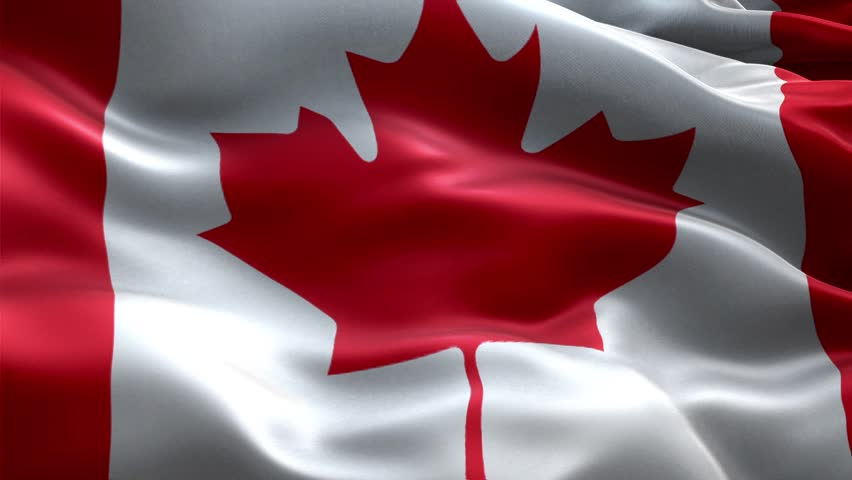 Canada Flag waving in the wind, Close up of Canada flag ...