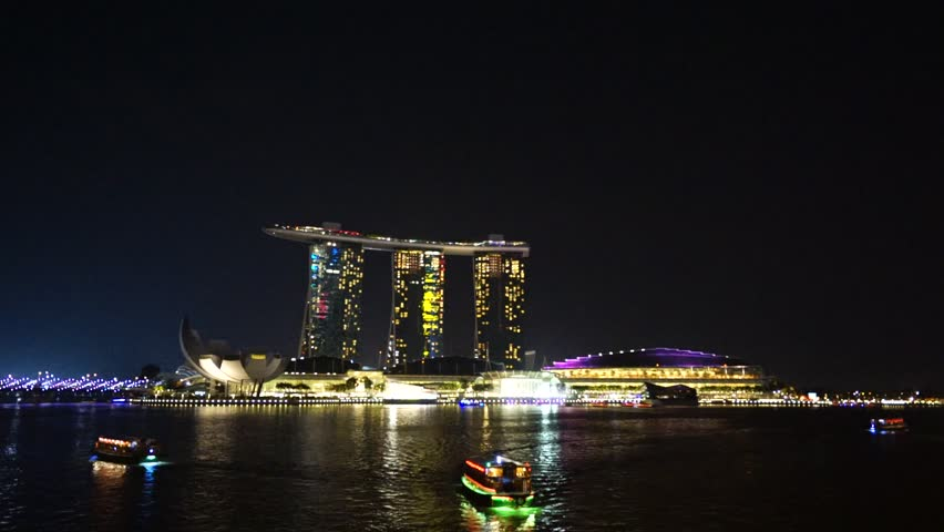 Singapore August 02 2015 : Beautiful laser show at the Marina Bay waterfront in Singapore. Wonder Full laser show and water spectacular in Southeast Asia