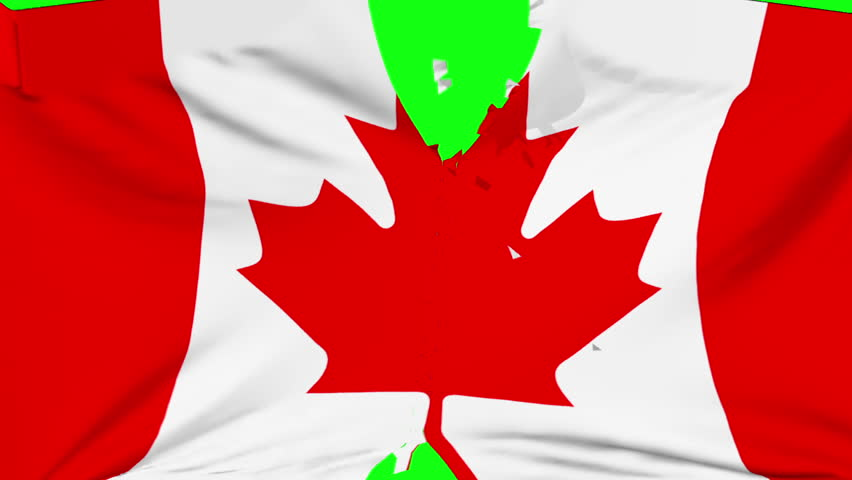 Canada flag material ripped transition with green screen and alpha