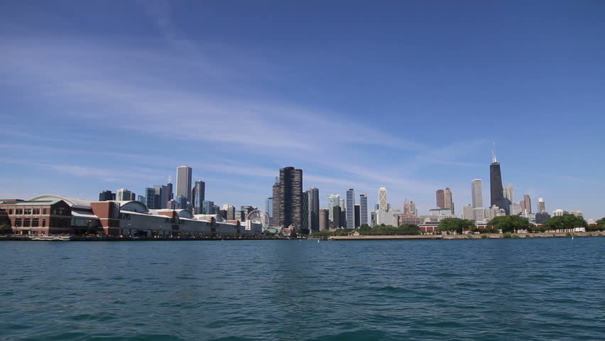 View of Chicago architecture from Lake Michigan, video - HD stock video clip