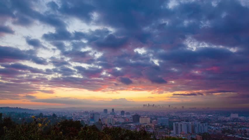 Beautiful colorful sunrise over city of Los Angeles skyline. Zoom in on downtown. 4K UHD Timelapse. | Shutterstock HD Video #11414138