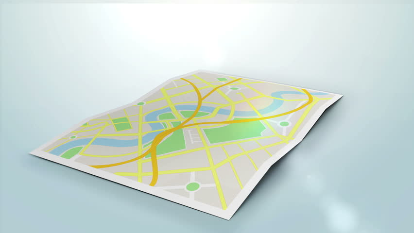 a city map animation with digital satellite gps pin point