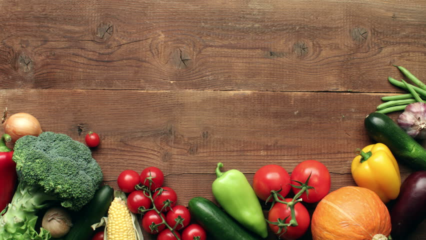 Moving Vegetables On Wooden Background Stop Motion