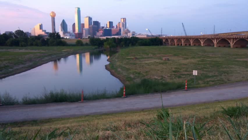 Dallas, Texas - August, 2015 - Static shot of the Dallas Skyline near Houston Street.