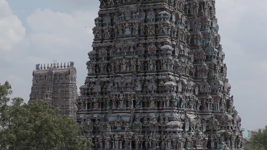 Meenakshi Amman Temple  is a historic Hindu temple located on the southern bank of the Vaigai River in the temple city of Madurai, Tamil Nadu, India. February 2014 - HD stock footage clip