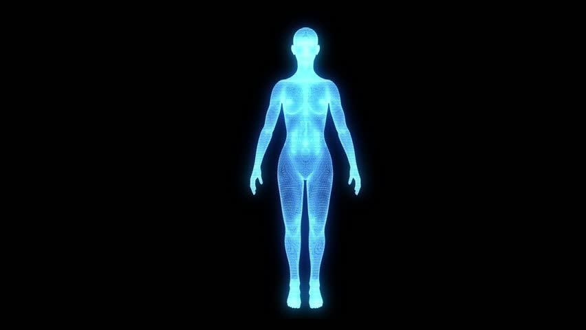 Hologram Wireframe Female Human Medicine  | Shutterstock HD Video #11444711