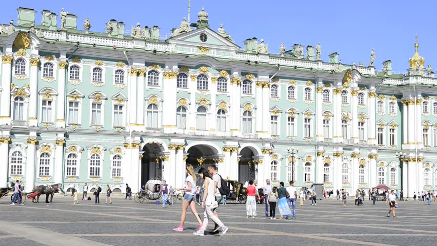Russia, Saint Petersburg - August 21, 2015: The people walking on Dvortsovaya square in front of the Hermitage - HD stock footage clip